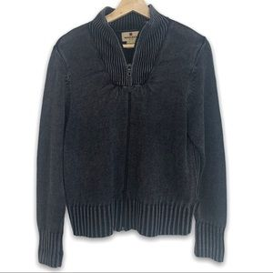 Woolrich Burnout Full Zip Ribbed Accents Sweater